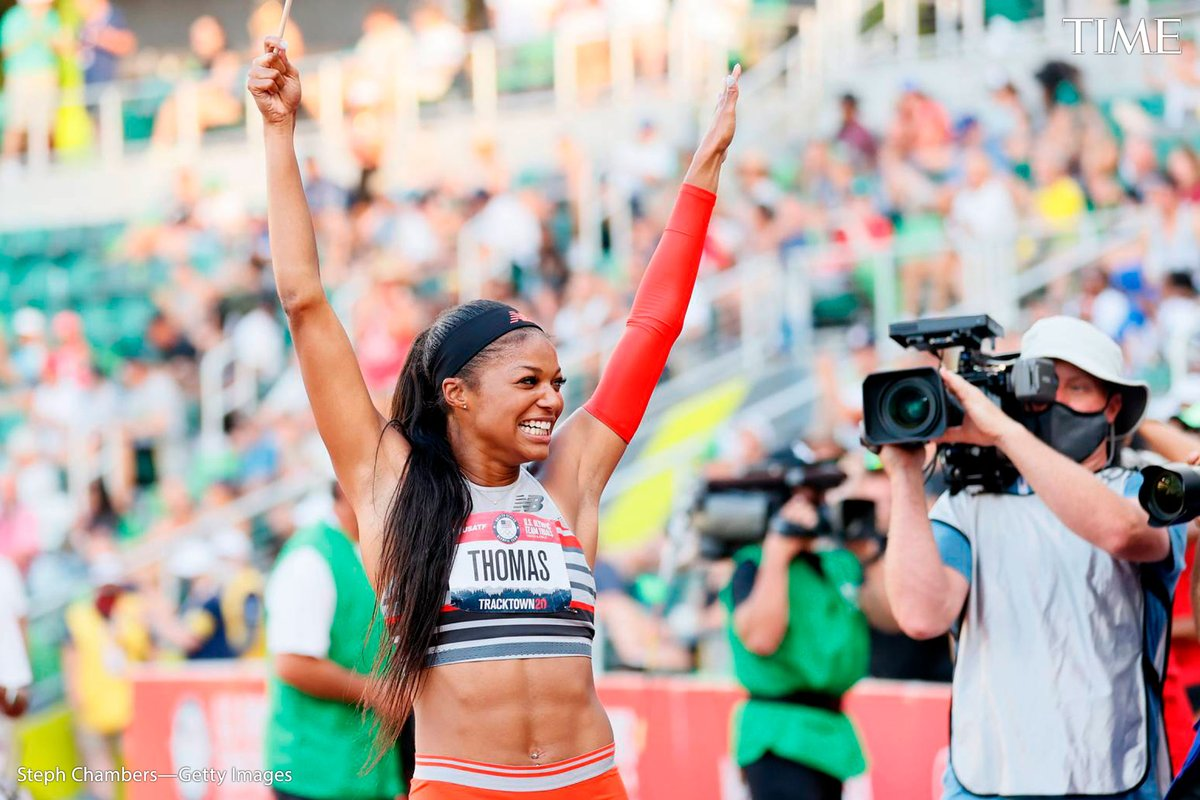 Gabby Thomas, track and field  There's a reason the press has crowned Gabby Thomas the fastest epidemiologist in the world. The American, who is working toward a master's degree in epidemiology, came in first in the 200-m sprint at June's Olympic trials with a time of 21.61 sec. https://t.co/9Ky62toJNV
