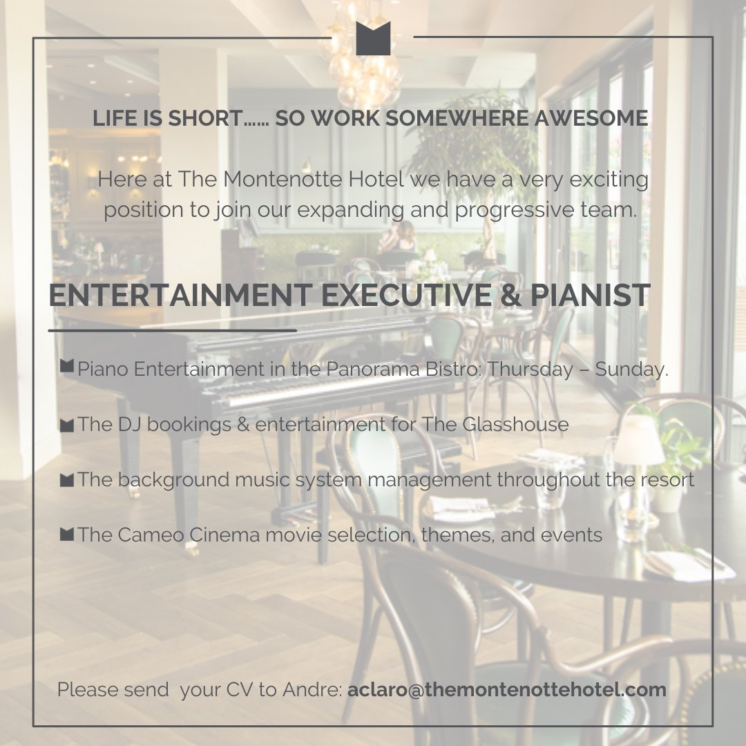 """#jobfairy Here at @MontenotteH, we have a very exciting position to join our expanding and progressive team.  """"ENTERTAINMENT EXECUTIVE & PIANIST"""" This unique hospitality role is a full-time position where you will be responsible for all elements of entertainment at the resort. https://t.co/V2ccXtQMvk"""