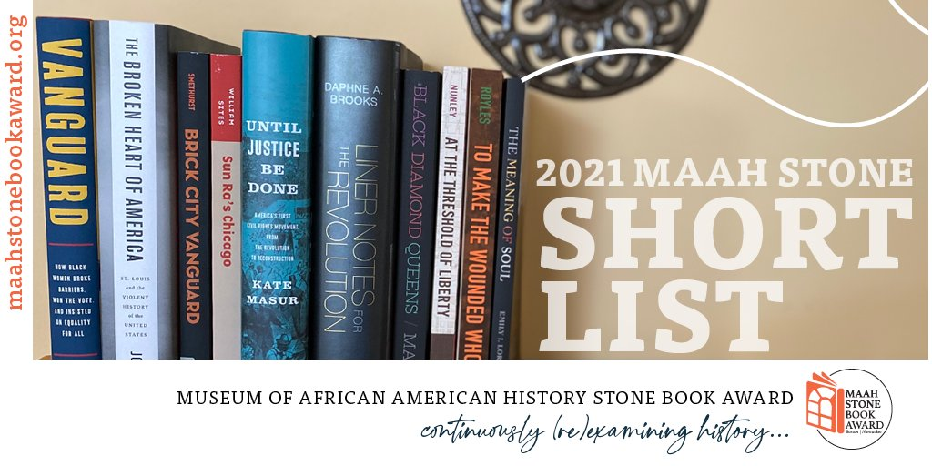 ANNOUNCING: 2021 #MAAHStone BookAward Short List! Congrats to the authors & publishers of these 10 impressive books. View the full list at https://t.co/6Aln1oDRjv & save the date for our virtual event on 10.14.21. $50K winner & 2 $10K finalists announced in early Sept! https://t.co/hX7uPXMn0n
