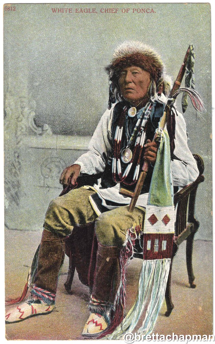 Another way White people robbed Native Americans was by stealing their likeness—like this of my great great great grandpa Chief White Eagle–to peddle consumer products, like this postcard. They shared none of the profit with him or any other Native. Their greed came in many forms https://t.co/0QzGZj5UKi