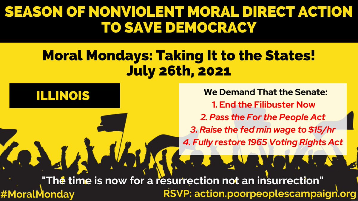 ✔️End the filibuster ✔️Pass all provisions of the For the People Act ✔️Fully restore the 1965 Voting Rights Act ✔️Raise the federal minimum wage to $15/hr  RSVP at https://t.co/oMXoyf7Pvl July 26th , 11am, Federal Plaza #MoralMonday https://t.co/2Mv8X3Ct1a