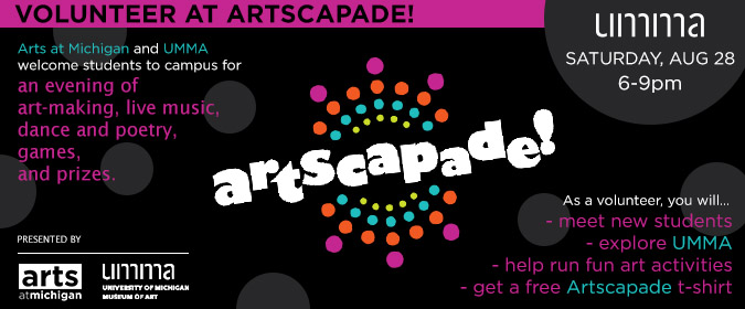 Can you volunteer at #Artscapade this year? Artscapade 2021 will be Saturday, 8/28, from 6-9pm at @ummamuseum. We invite @UMichStudents, @Umich Faculty, Staff, @michiganalumni, & community members to sign up to help out! #GoBlue 〽️💙💛  https://t.co/YUM0dlE4mX https://t.co/LMTQ2egwAH