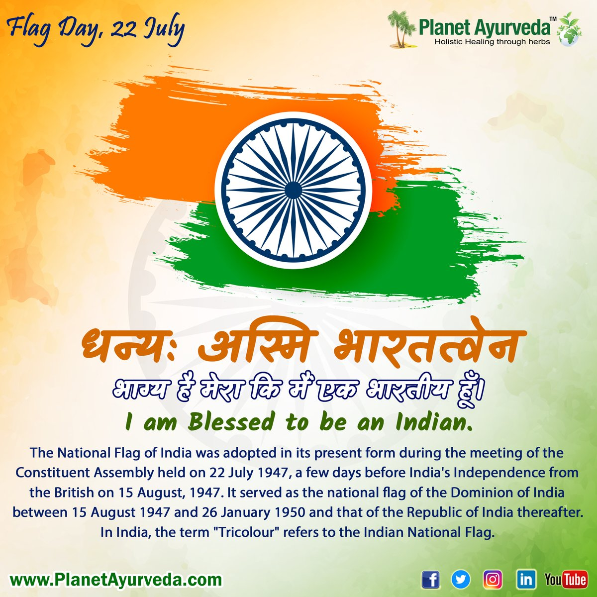 Happy Flag Day 22th July  I Am Blessed To Be An Indian  #indiaflagday #flagday #indianflagcolors #indianflags #blessedtobeanindian #proudtobeanindian https://t.co/srQ0JcfQ4a