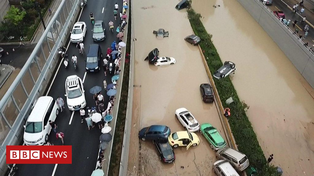 China floods: Drone footage shows the scale of damage as clean up begins Photo