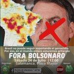 Image for the Tweet beginning: Contestación en Salamanca contra Bolsonaro.