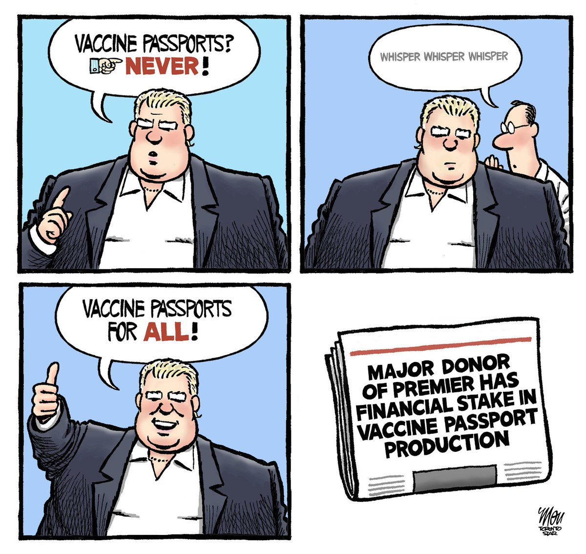Please enjoy my #VaccinePassports cartoon in today's @TorontoStar #onpoli https://t.co/T4eCQBxtJD