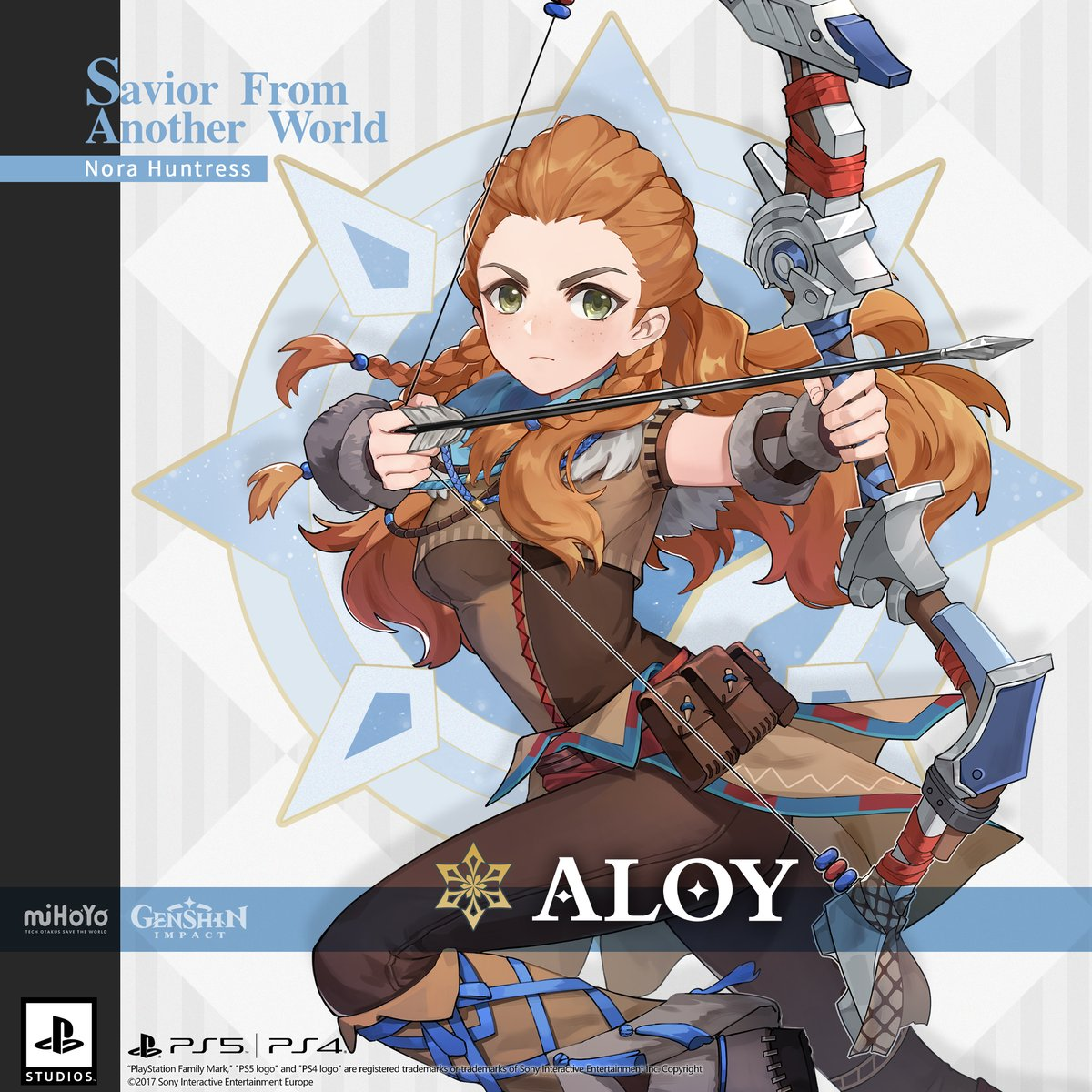 """""""Everything I do is in the service of life, not death. That's why I'm here with you.""""  #Aloy Savior From Another World Nora Huntress Cryo Nora Fortis  Travelers, let's welcome Aloy – """"Savior From Another World!""""  #GenshinImpact"""