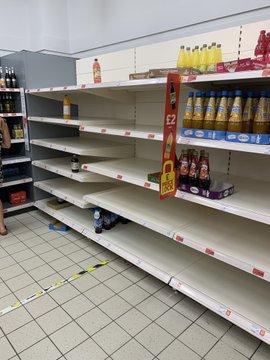 Panic Hits UK as Supermarket Shelves Go Bare E65k1B-WUAMvEq7?format=jpg&name=360x360