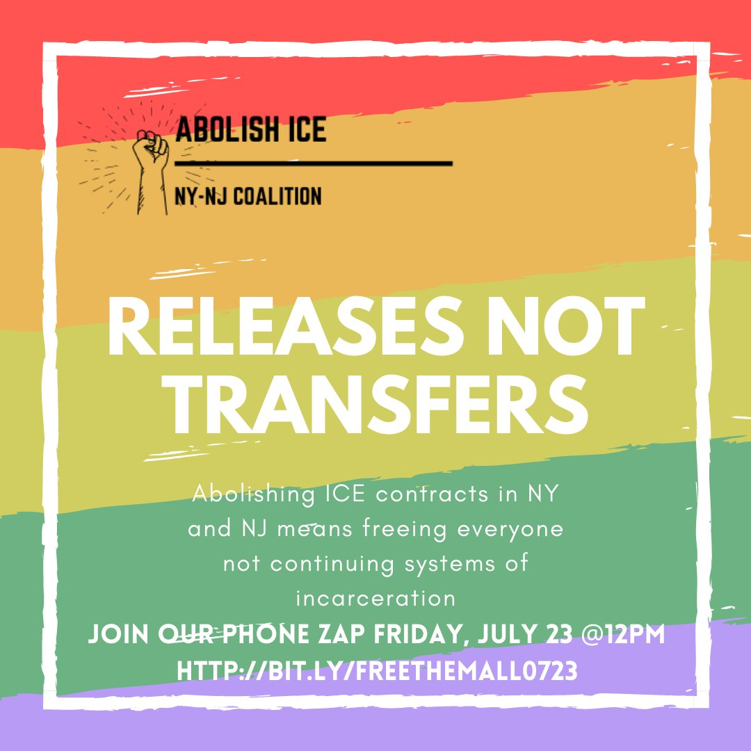 ☎️The call for #ReleasesNotTransfers has never been more urgent. Join us on Friday, 7/23 at 12pm for our weekly phone zap to tell NJ and NY officials to #FreeThemAll! Register https://t.co/ZfkMR9tgeR ☎️ https://t.co/XGR9deBbbj