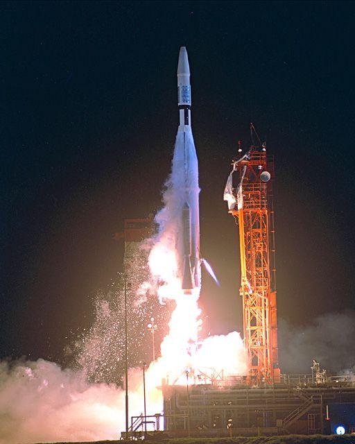 Atlas-Agena rocket launching at night