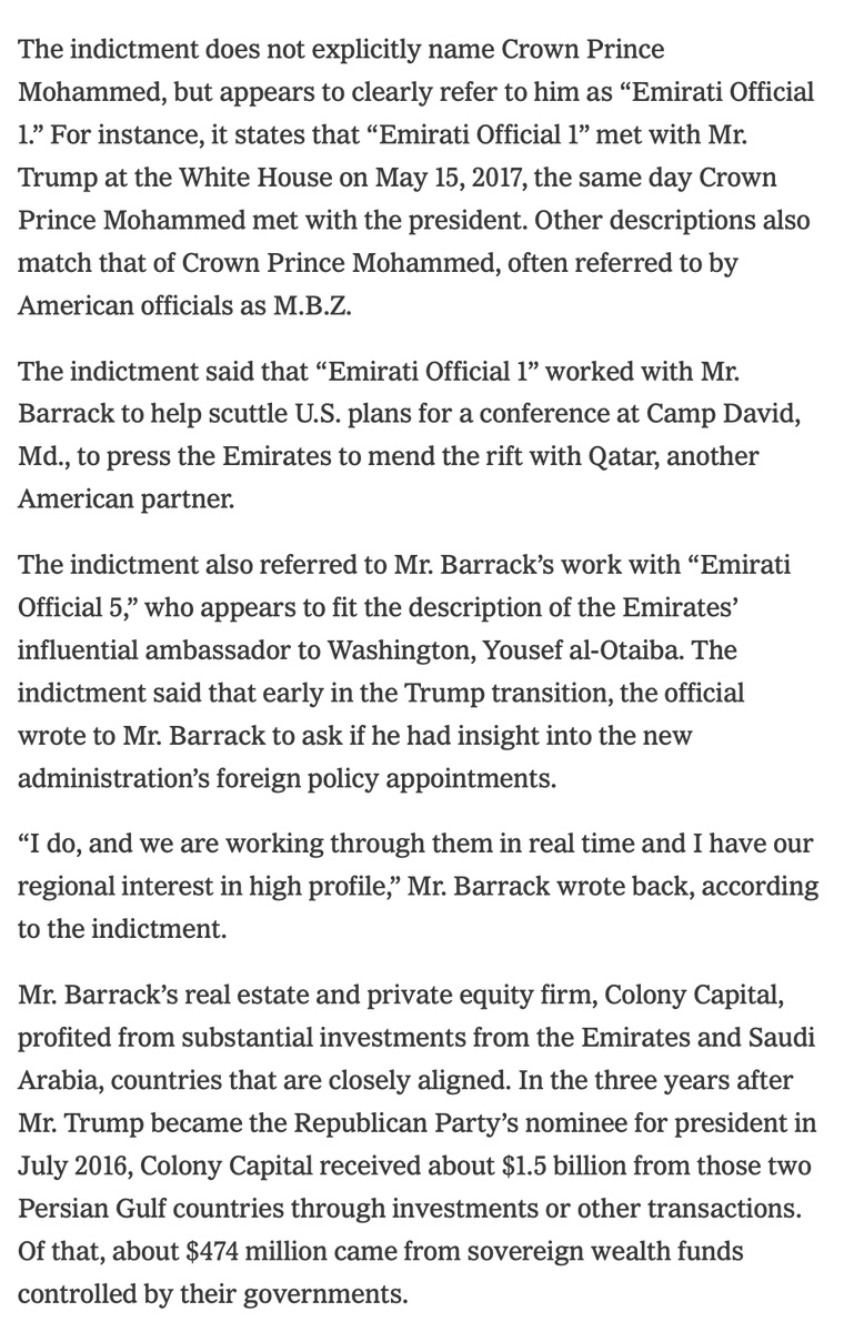 Trump advisor Tom Barrack worked for the UAE, got $1.5 billion put into his companies from them and the Saudis, and worked to turn the US against Qatar. This is just like the media's view of Russiagate, except it's true. https://t.co/Zdle8pzhuk https://t.co/2hAk6VPlWa