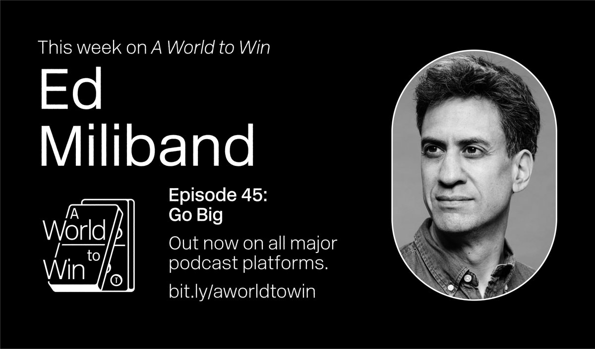 🚨NEW EPISODE🚨  On this week's episode @graceblakeley speaks to @Ed_Miliband about fighting inequality and the climate crisis, and his new book, Go Big: How to Fix Our World. 🌎  On Spotify, iTunes and wherever else you get your podcasts now! 📻  https://t.co/p35VP7W5Kb https://t.co/l4h2pqIMuh