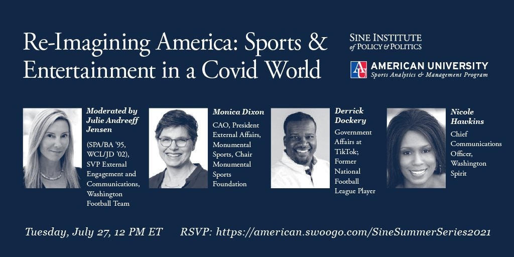 Today at noon: Join @MonicaDixon_MSE for @AUSineInstitute's #SummerWithSINE series.   @MSE is a sports & entertainment industry leader that continues to innovate in this period of transformative change.   RSVP and tune in to hear more!