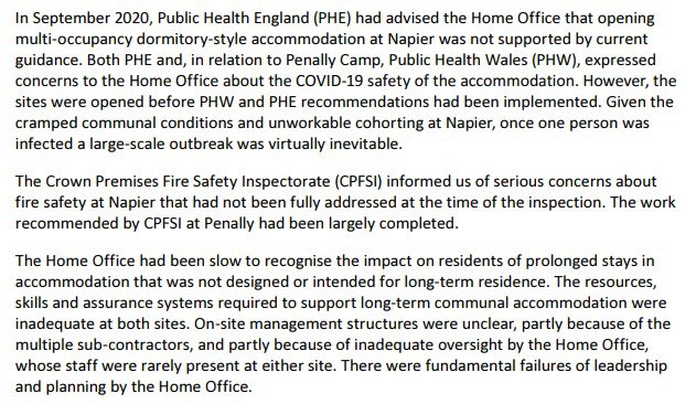 . @ukhomeoffice received this damning report on decisions & conditions at Napier Barracks in May. But they decided to publish it on the last day before recess & the day after @CommonsHomeAffs to try to avoid scrutiny. Here's why they wanted to hide it 👇🏼 https://t.co/Rk3nZTF4AE https://t.co/7pIBSCPHVn