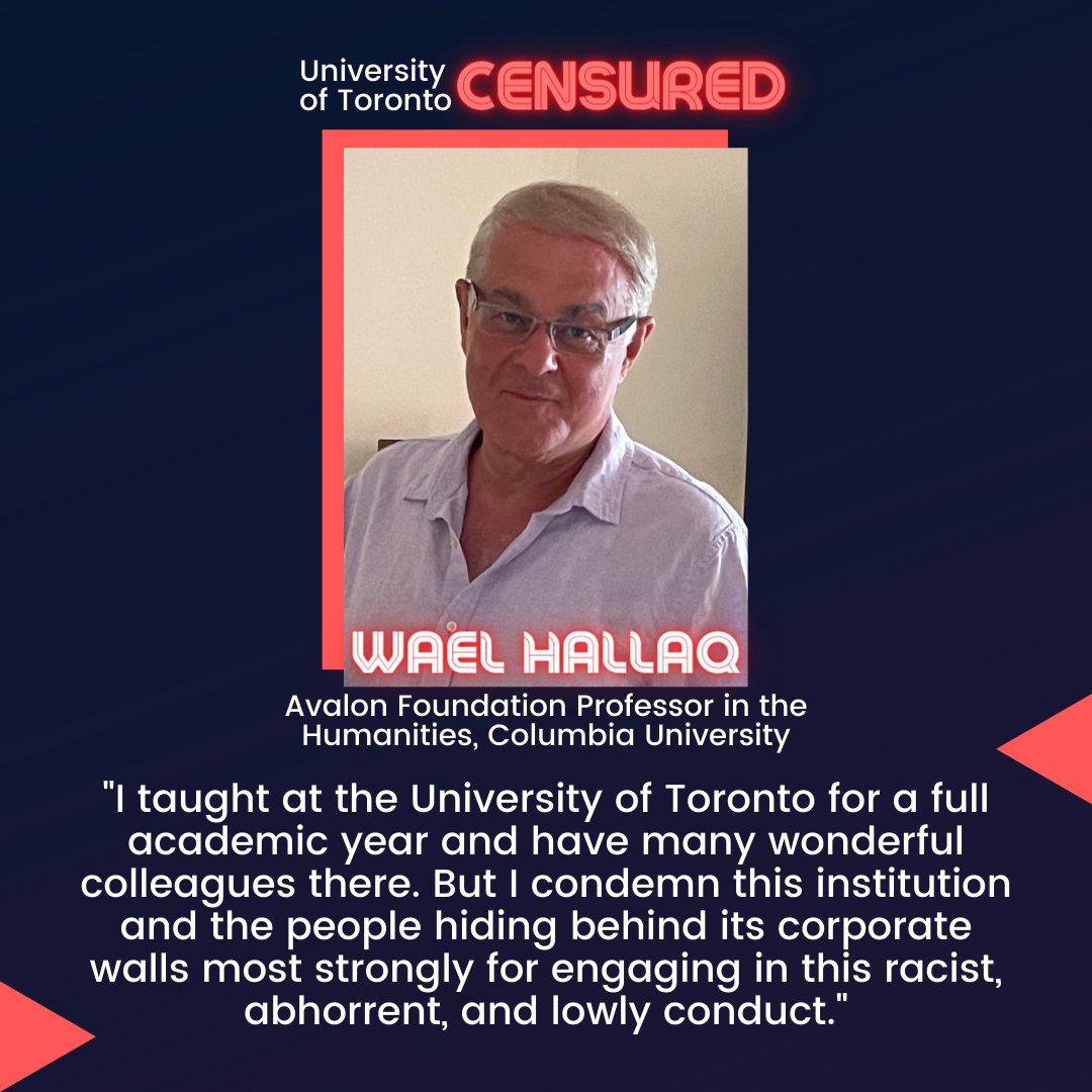Wael Hallaq supports #CensureUofT!  #UofTScandal #AcademicTwitter #AcademicChatter #HireValentinaNow https://t.co/zzKb7NRVC4