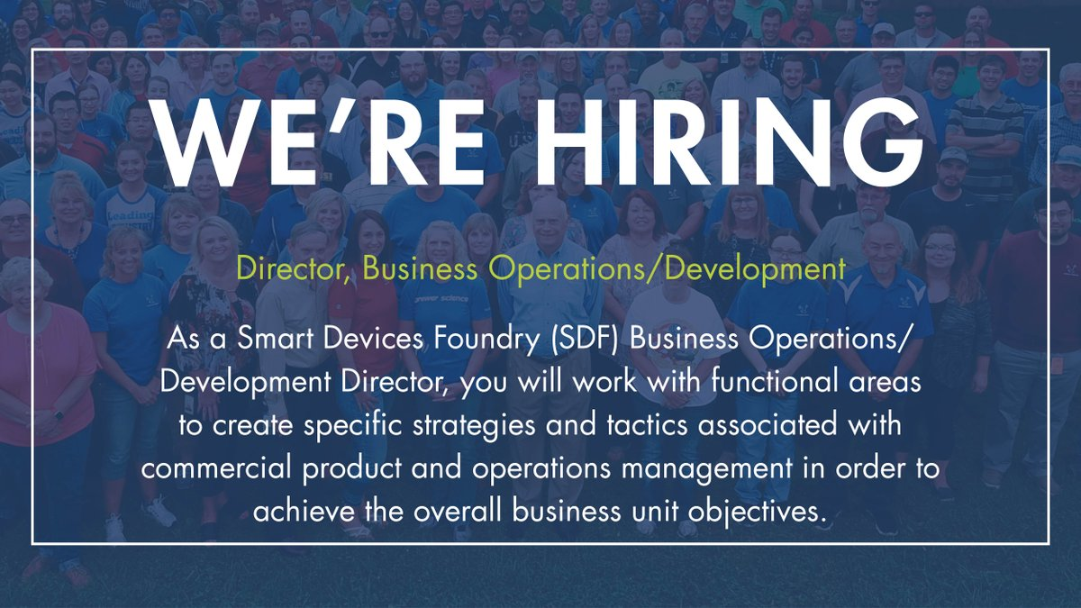 test Twitter Media - Brewer Science is looking for a Director, Business Operations/Development to join our Smart Devices Foundry in Springfield, MO. Learn more about the position and other current job openings by visiting : https://t.co/GFLoukA1Ll https://t.co/QQ9Zt7wxCr