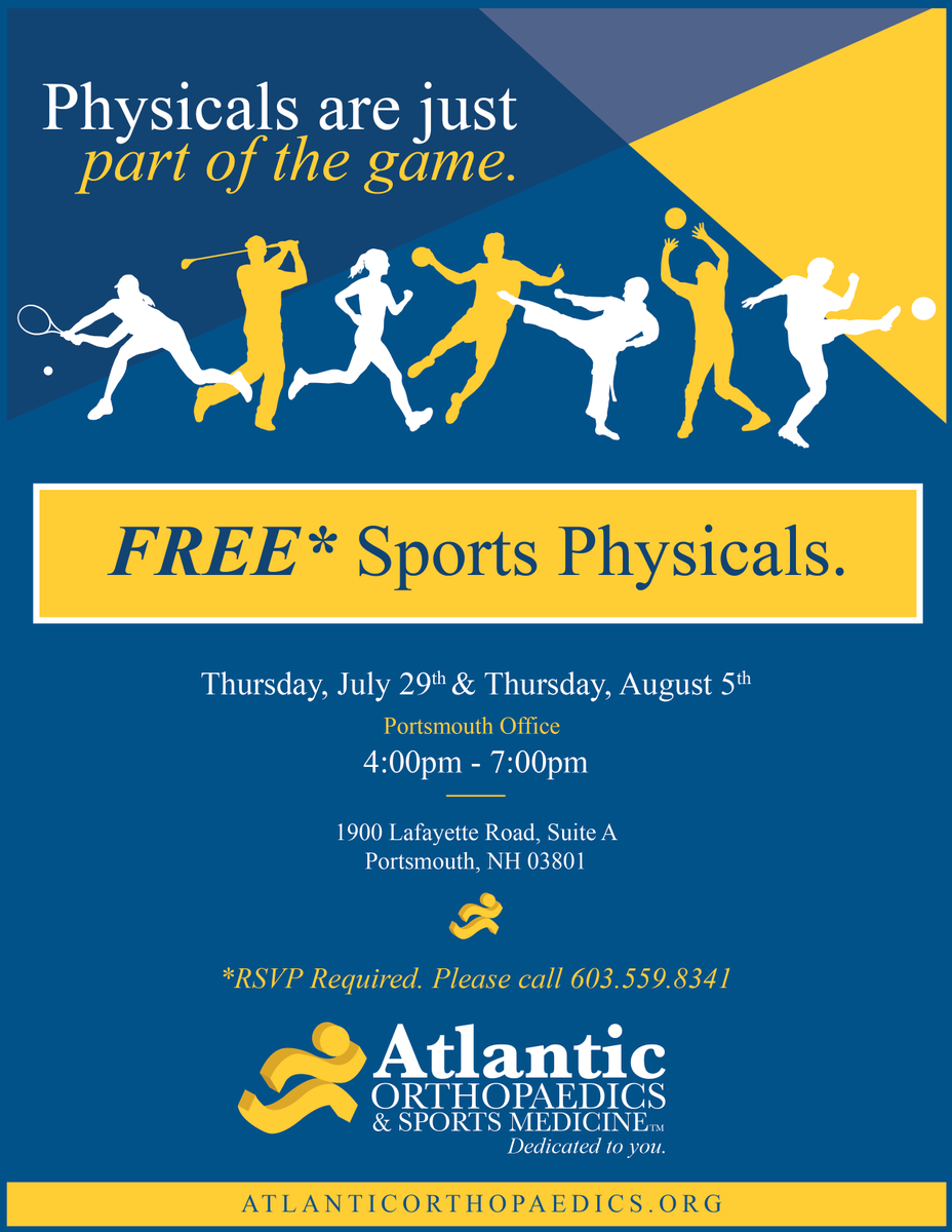 test Twitter Media - It's time to get ready for Fall 2021!!  Online forms are active (link below) and for any YHS or YMS student-athlete needing an updated physical Atlantic Ortho has two upcoming free clinic dates on July 29 & Aug 5 available to all athletes, no matter what sport or season. https://t.co/2eRK9Hoek5