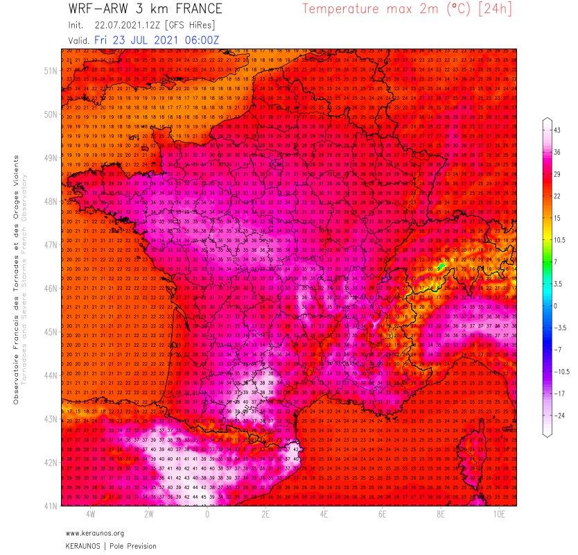 Journée encore très chaude demain avant une dégradation orageuse parfois intense. Jusqu'à 38/39°C sur Midi-Pyrénées (pointes proches de 40°C pas totalement exclues), 35 à 36°C des Pays de la Loire à la vallée du Rhône.