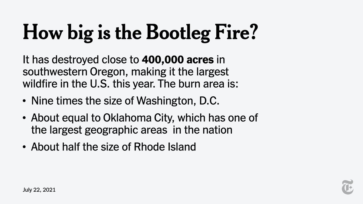The 400,000-acre Bootleg fire is still growing. And it is only 38% contained. https://t.co/JxI03RO9f4 https://t.co/Mw0u41QuAC