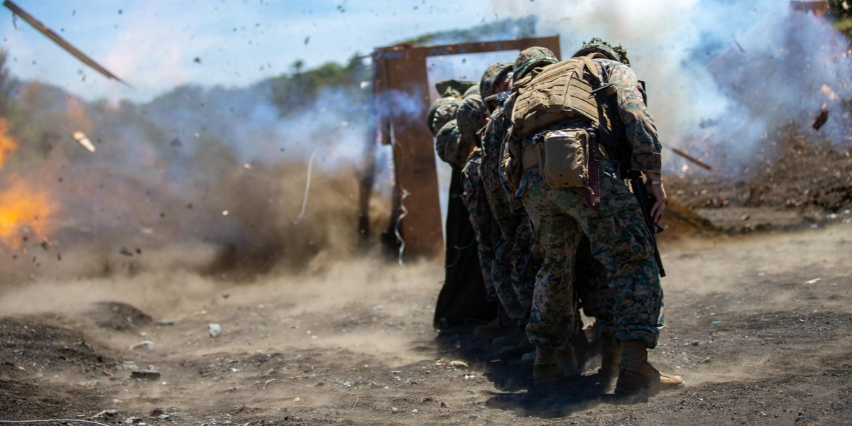 Combat engineers with @1stMAW_Marines breach a door during exercise Eagle Wrath 21 at @catc_campfuji. Eagle Wrath is an annual MWSS-171 exercise that increases squadron proficiency in conducting contingency missions in a forward operating environment. https://t.co/681QZib0tD