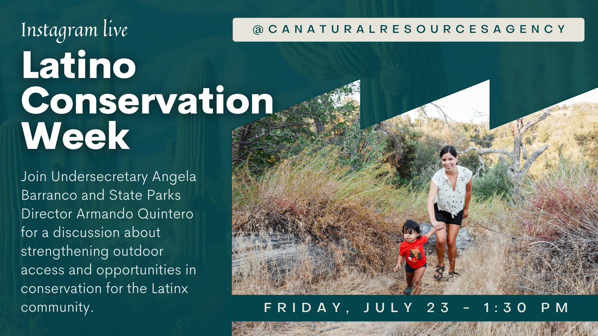 Join us tomorrow at 1:30PM for an Instagram Live (@CAStateParks) commemorating #LatinoConservationWeek w/our Director Quintero and @calnatresources Undersecretary Barranco. The discussion will focus on ways to strengthen outdoor access & opportunities in conservation. #LCW2021 https://t.co/iyVCWS65sM
