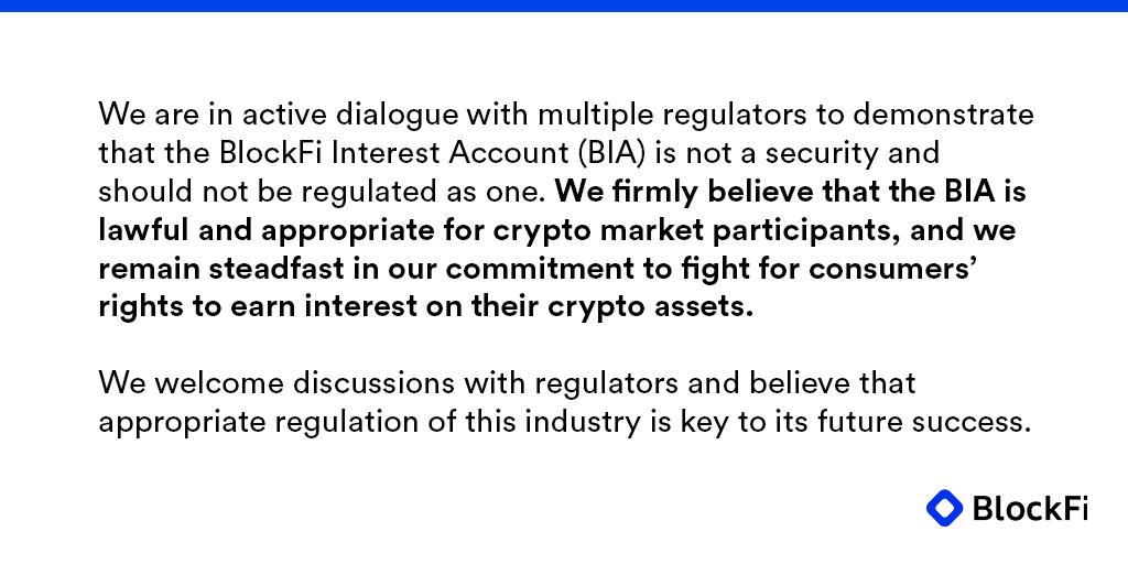 Réponse de BlockFi aux régulateurs affirmant que les BlockFi Interest Accounts constituent des offres de titres financiers non enregistrée.