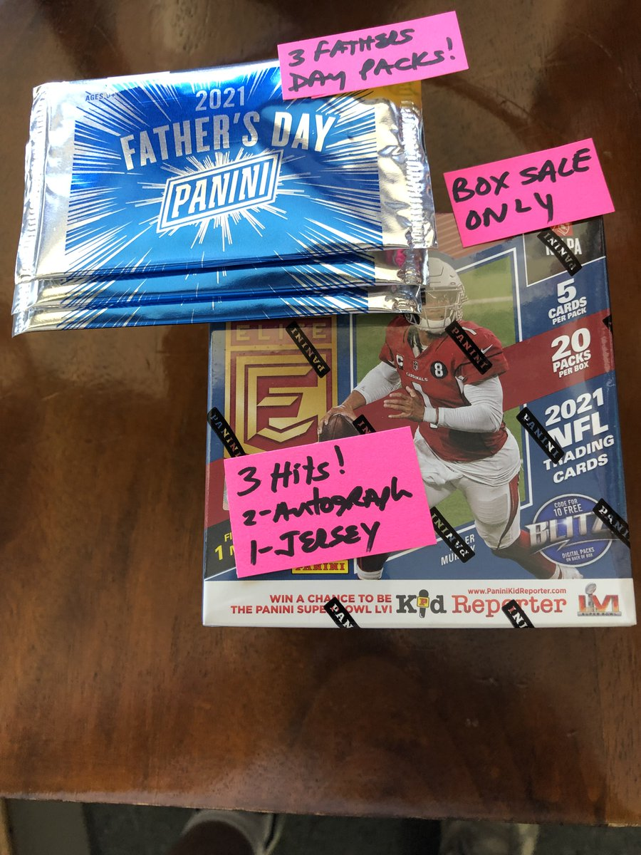 Now in stock! 2021 Elite football hobby! You get 3 bonus Fathers Day packs when you buy a box ! https://t.co/c9xd3bojtf