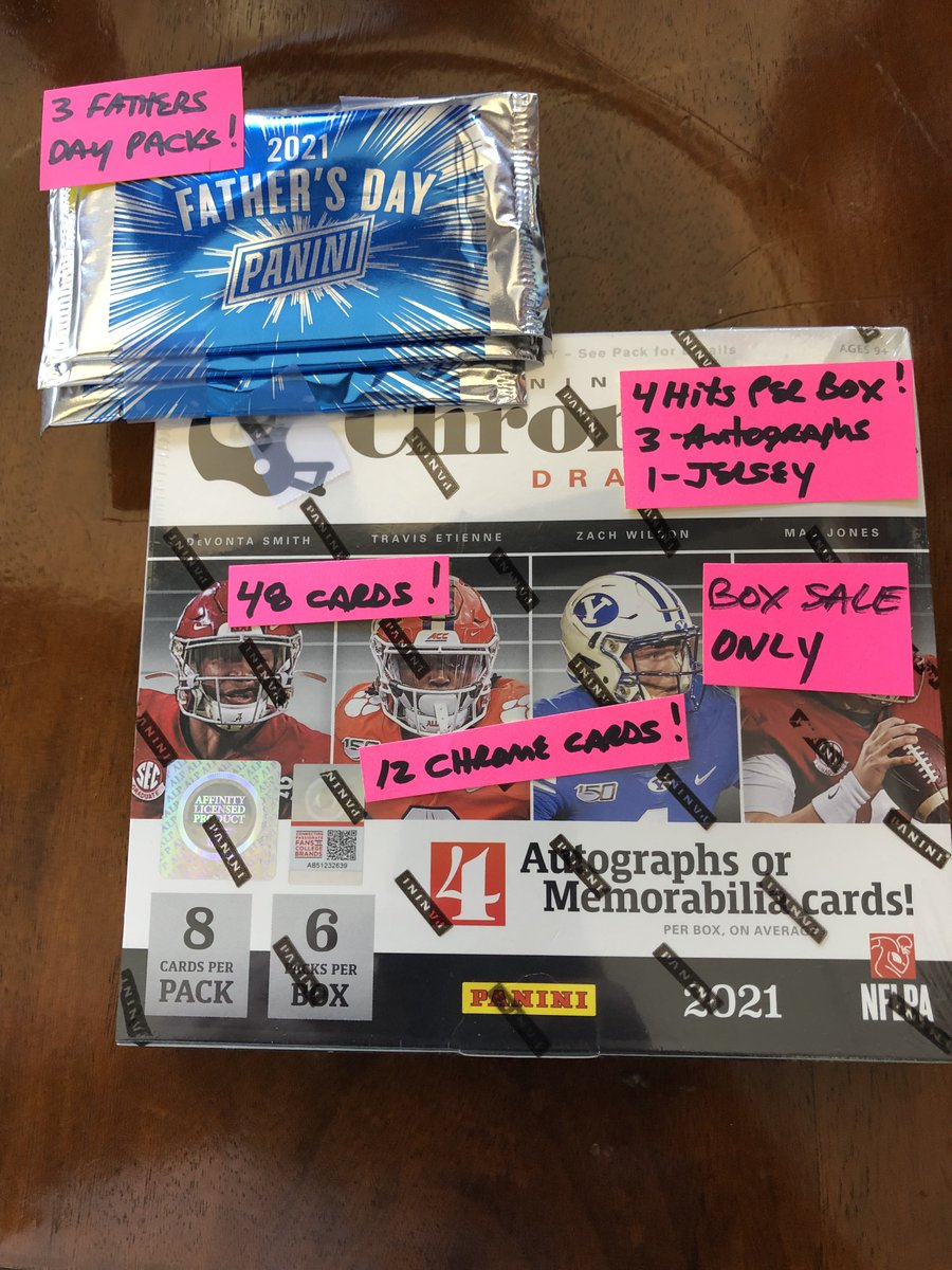 Now in stock! 2021 Chronicles Draft Pick Football! You get 3 Bonus Fathers Day packs when buying a box! https://t.co/6tcnfubXQG