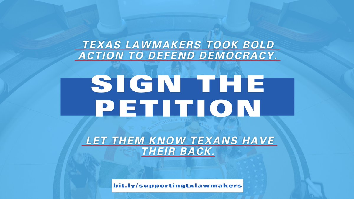 While Texas Dems continue the historic fight for our democracy in Washington, DC, join us, @ProgressTX @TXCivilRights  @DeedsActionFund @MiFamiliaVota @MOVE_texas @PPTXVotes  in sending support from back home.  Sign the petition: https://t.co/e5AMidtTg5 https://t.co/ouxW0KJAKP