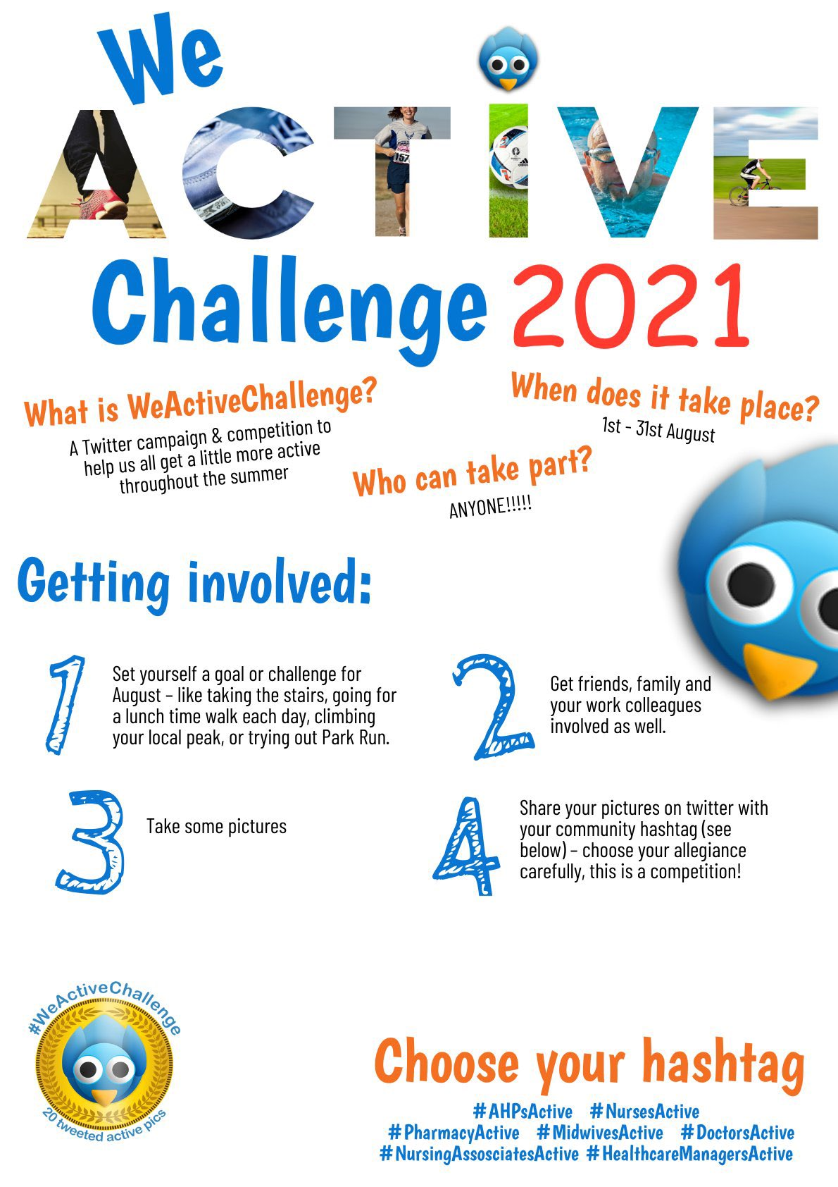 #AHPsActive tweetchat #physiotalk Mon 2nd Aug 8pm