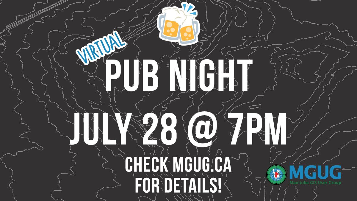 test Twitter Media - Join MGUG for a Virtual Pub Night on Wednesday July 28 at 7pm! Head to https://t.co/b1xr3aWkuI for the link to RSVP on Meetup! Everyone is welcome, new members are encouraged to join! 🍻 #GIS #mgug #mgug2021 #manitoba #gisprofessional https://t.co/w49d9jJJVl