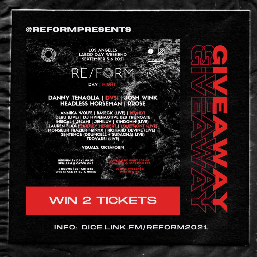 🚨 Win a pair of tix to REFORM 2021 (Day + Night)  1) Follow @reformpresents & @synthetikminds   2) LIKE & RT this tweet  3) Comment tagging at least three of your techno friends  1 winner from this giveaway (which runs on IG and Twitter) will be picked on Aug 5th!   Must be 21+ https://t.co/GOzIsS1upw