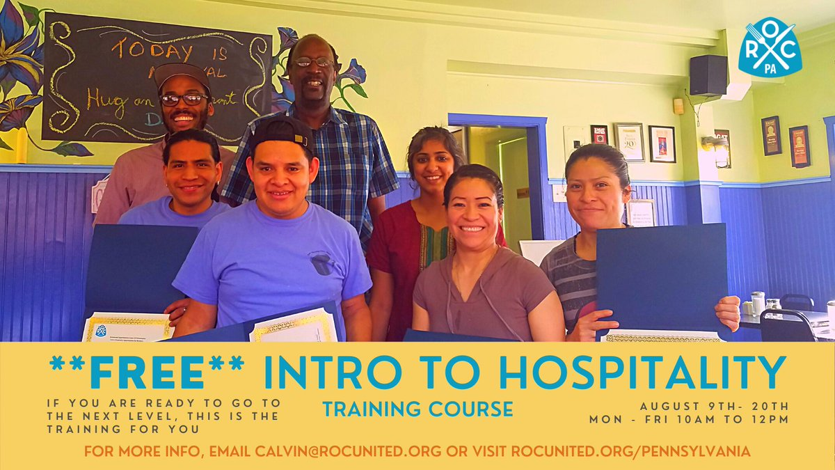 Enroll now for @ROC_Philly 's upcoming Intro to Hospitality Class 🎓💻🍎  This ✨FREE✨virtual, two-week training program will run Monday through Friday from 10 AM - 12 PM starting 8/9 until 8/20.  To sign up for orientation, visit ➡️https://t.co/WnXWDeTtYy https://t.co/m5N3oaFFHD