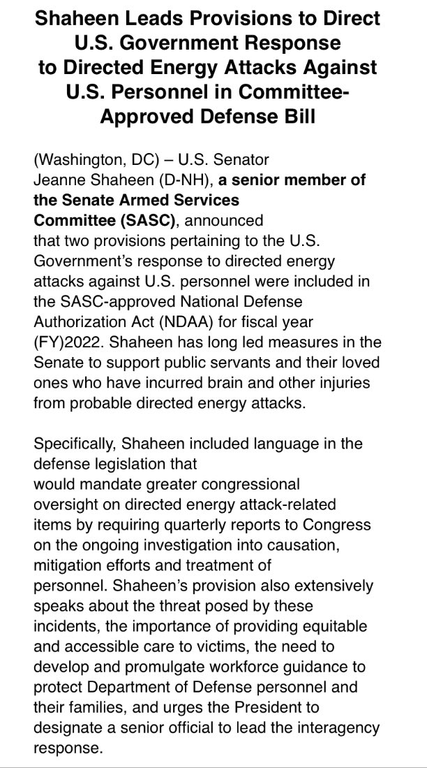 """.@SenatorShaheen says the NDAA, just passed by the Senate Armed Services Committee, includes a provision that would require """"quarterly reports to Congress on the ongoing investigation into causation, mitigation efforts and treatment of personnel"""" affected by 'Havana Syndrome' - https://t.co/ZqJTdtJMHC"""