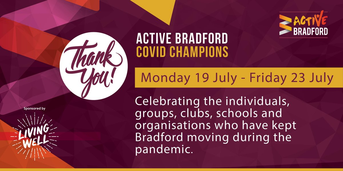 It's the final day of our #ActiveBradfordCovidChampions celebration and we're going out in style! Not only will we have a video for you at 6pm, as with every day this week, but we've got one at 9am, too!  A huge thanks to @MyLivingWell1 who have made this all possible!
