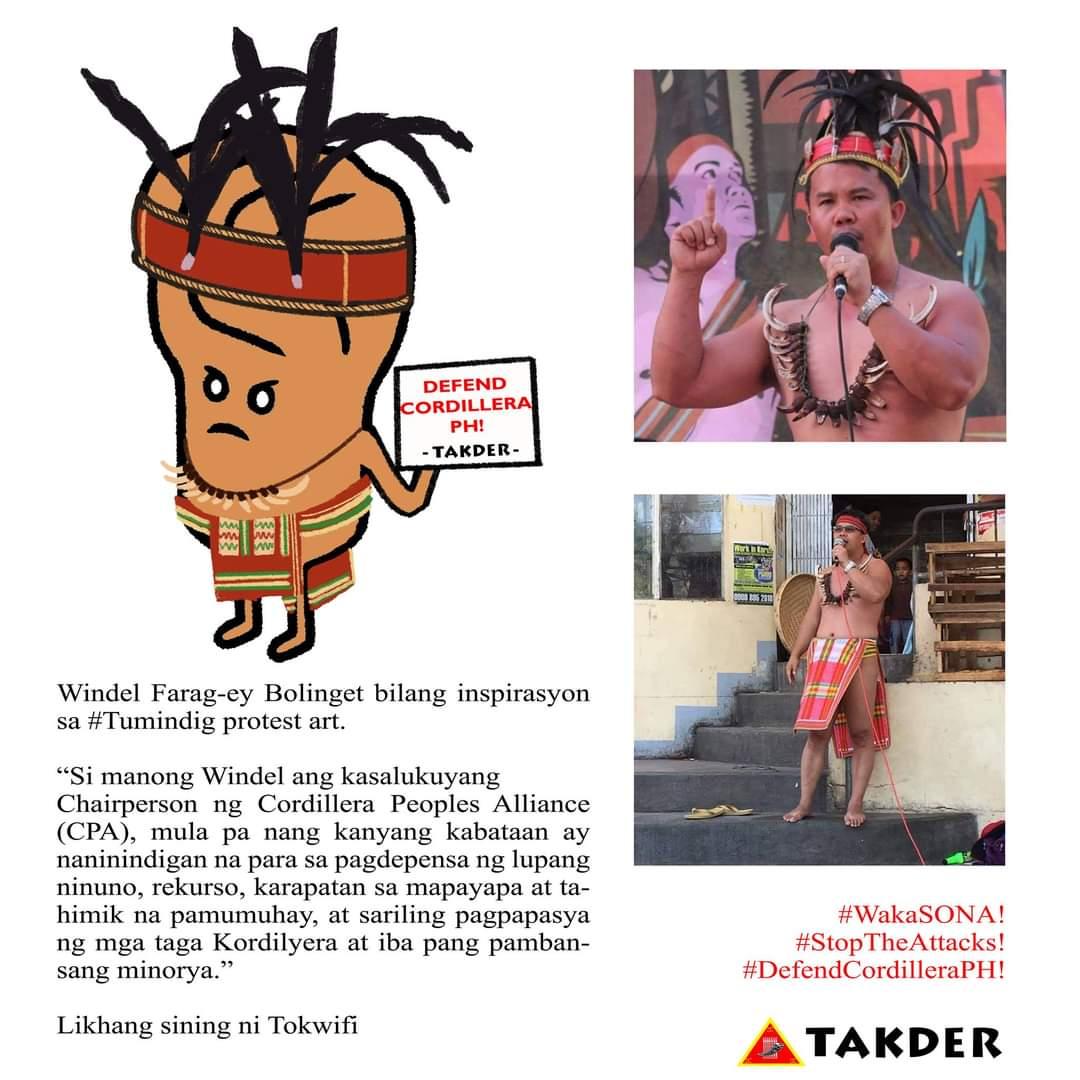 @WBolinget ng @CPA_Cordillera bilang inspirasyon sa #Tumindig protest art ni @KevinKalbo.  TUMINDIG, LUMABAN, MAKIBAKA! SUMAMA SA SONA NG MAMAMAYAN! ________________ Likhang sining ni Tokwifi 🌠  #WakaSONA! #StopTheAttacks! #DefendCordilleraPH! https://t.co/331yzfjWNL