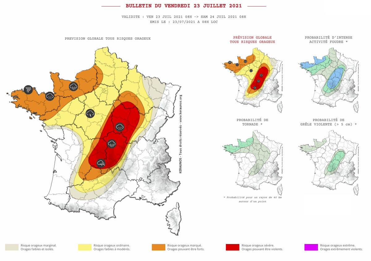 Des #orages parfois intenses sont prévus sur le nord-ouest du pays dans un premier temps puis ce soir et la nuit prochaine sur le centre de la France avec risque de phénomènes violents. Bulletin complet ->