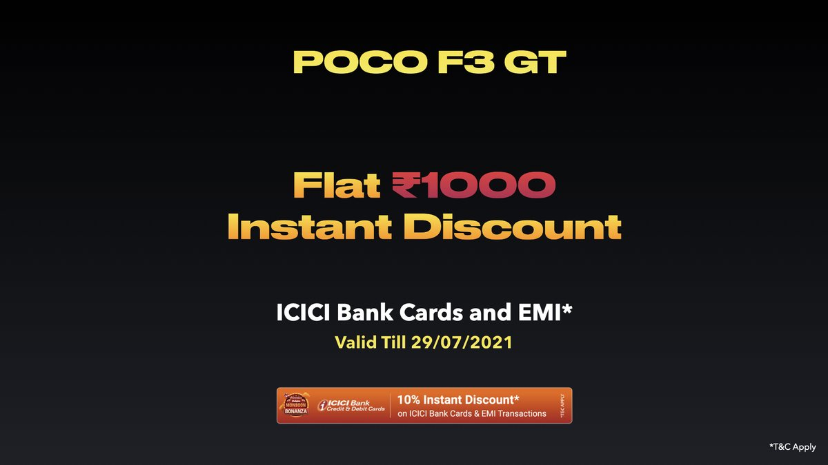 We're switching it up to another level of MAD as #POCOF3GT will have a Flat ₹1,000 Instant Discount on using ICICI Bank Cards & EMI*  *T&C Apply. #SwitchItUp https://t.co/bDFcC0Vmeb