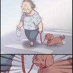 これで逃げたりしないのは凄い・・・!目撃した、衝撃的な犬のお散歩風景を再現したイラストが話題に!