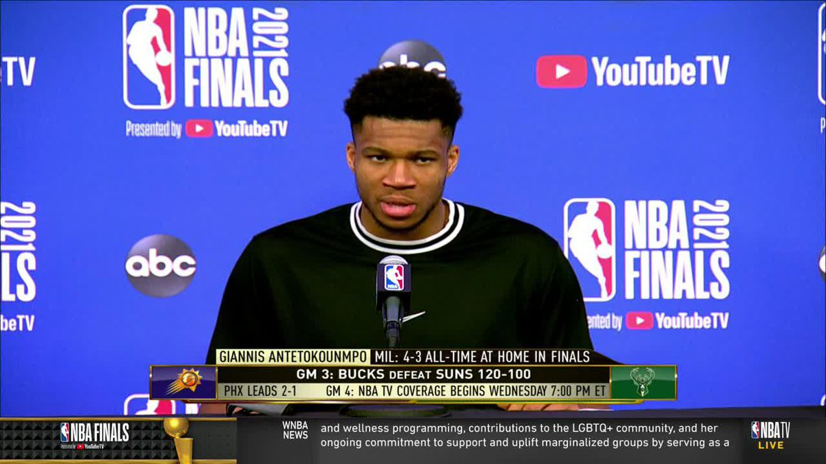 """""""All I care about right now is getting one more.""""  Giannis is locked in on the next Finals game  (via @NBATV) https://t.co/bZtxeiy5eX"""