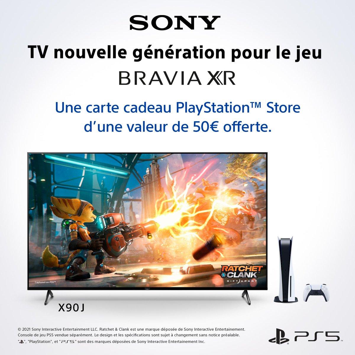 OFFRE SPECIALE 🌟 Une carte cadeau PlayStation™ Store d'une valeur de 50€ offerte pour l'achat d'un TV BRAVIA XR™ 👉 https://t.co/blJ5iEitgT https://t.co/jHWXUCmidr