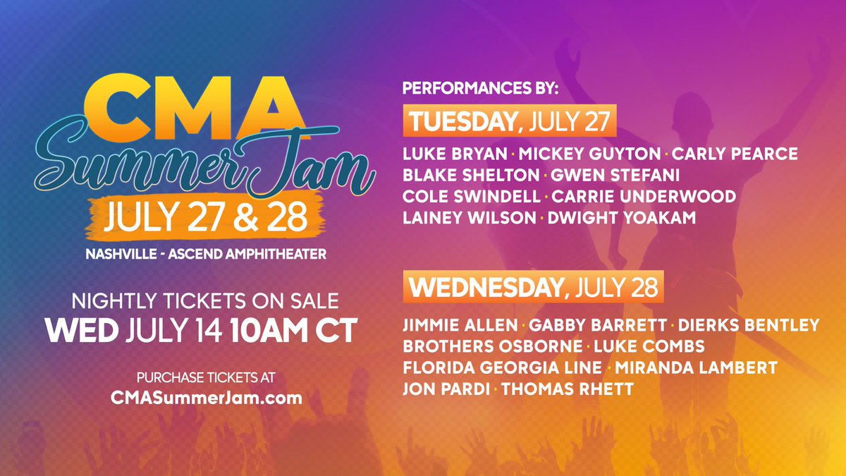 LIVE MUSIC IS BACK!!! Introducing #CMASummerJam - a brand new, two-night event at Nashville's @Ascend_Amp, feat. fave performances & first-ever collabs by 9 of Country Music's hottest stars all on 1 stage each night! TICKETS GO ON SALE THIS WED AT 10AM CT. https://t.co/xYLH0qmeg5 https://t.co/aLicvacmOG