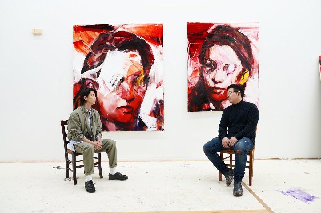 山下さんとスタジオにて。ありがとうございました! まさかモデルしていただける日が来るとは…  とても刺激的な1日になりました^ ^  Thank you Yamashita-san! I painted two portraits of him that day. Ha ha! I was probably very excited. It was a very inspiring day. #山下智久 #山P  さん