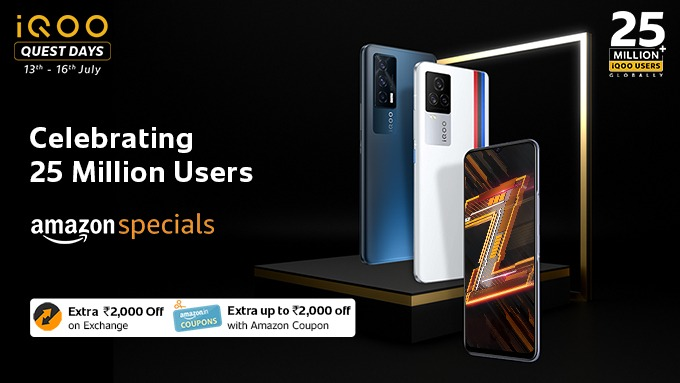 We have 25 Million iQOO users globally and it's time to celebrate!  Come celebrate with us, as we bring you iQOO Quest Days!  You can avail amazing offers on #iQOO7Series and #iQOOZ3.   Buy now on Amazon: https://t.co/2ivXql81vX #iQOODays #iQOO https://t.co/Desr7s8IEB