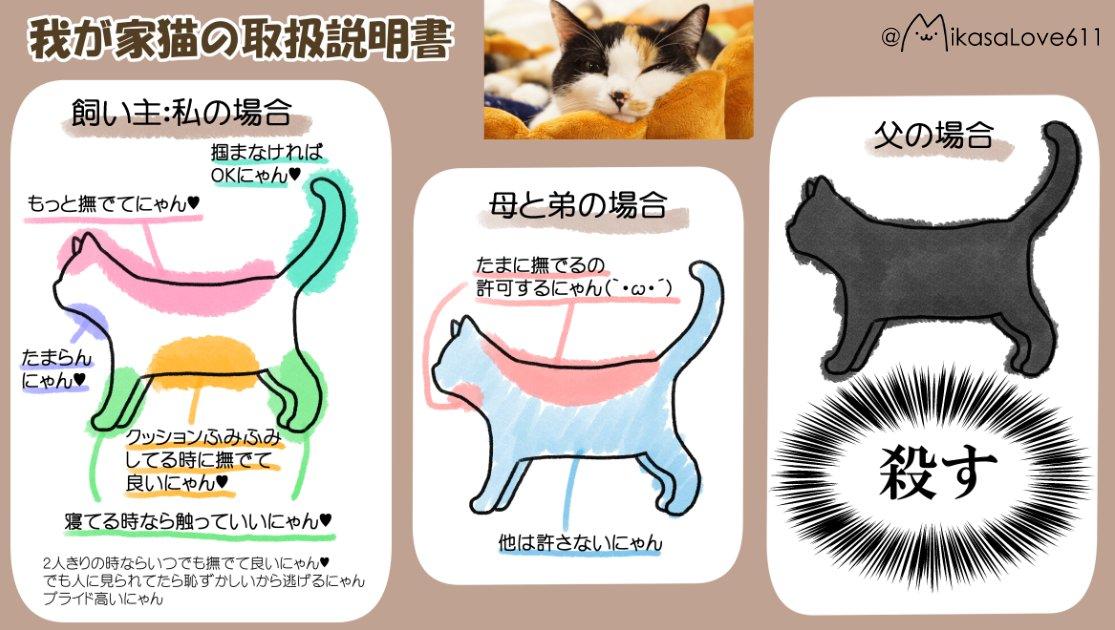 『猫がさわると喜ぶ場所、喜ばない場所』というものがあったので、我が家版を作ってみました(^^) 猫を飼った体感としては、猫が撫でて喜ぶ場所は「撫でる人」によっても変わってくる気がします。  nekonavi.jp/catblog/archiv…