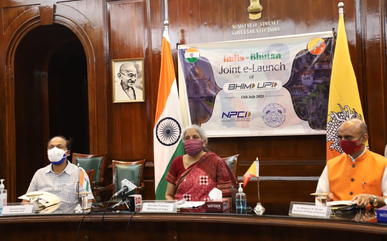 वित्त मंत्री निर्मला सीतारमण और भूटान के वित्त मंत्री ल्यिन्पो नामगे शेरिंग ने संयुक्त रूप से भूटान में BHIM-UPI का शुभारंभ किया
