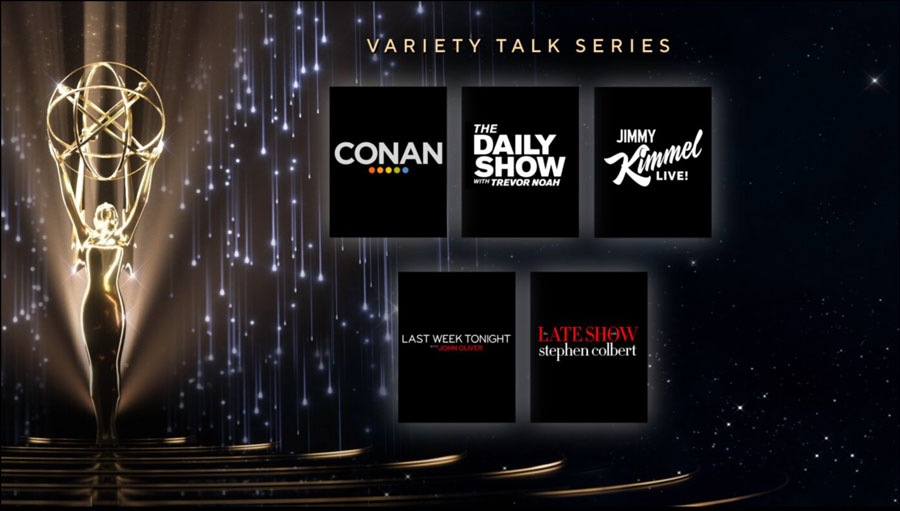 The #Emmy nominees for Variety Talk Series are:   @TeamCoco @TheDailyShow @JimmyKimmelLive @LastWeekTonight @ColbertLateShow   #EmmyNoms #Emmys #Emmys2021 https://t.co/itL2tM1i7U