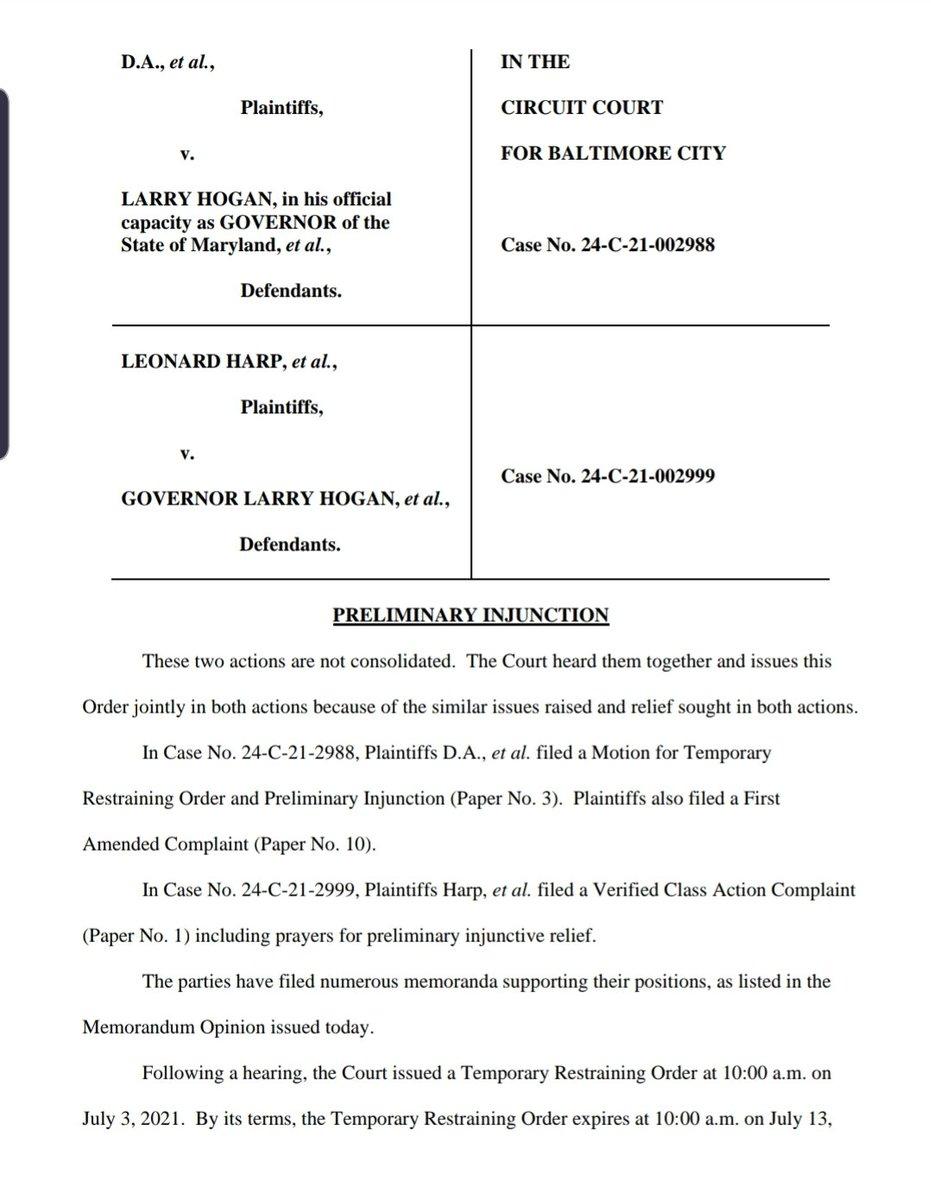 Breaking: Judge blocks @GovLarryHogan effort to pull Maryland out of the federal unemployment program https://t.co/lYaNmYcVxW