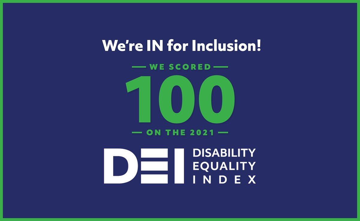 Today, we earned a top score on the Disability Equality Index from @DisabilityIN and @AAPD for being a #BestPlaceToWork for disability inclusion. See more: https://t.co/avjbodySkT #AreYouIN https://t.co/oDn5gf8K7a