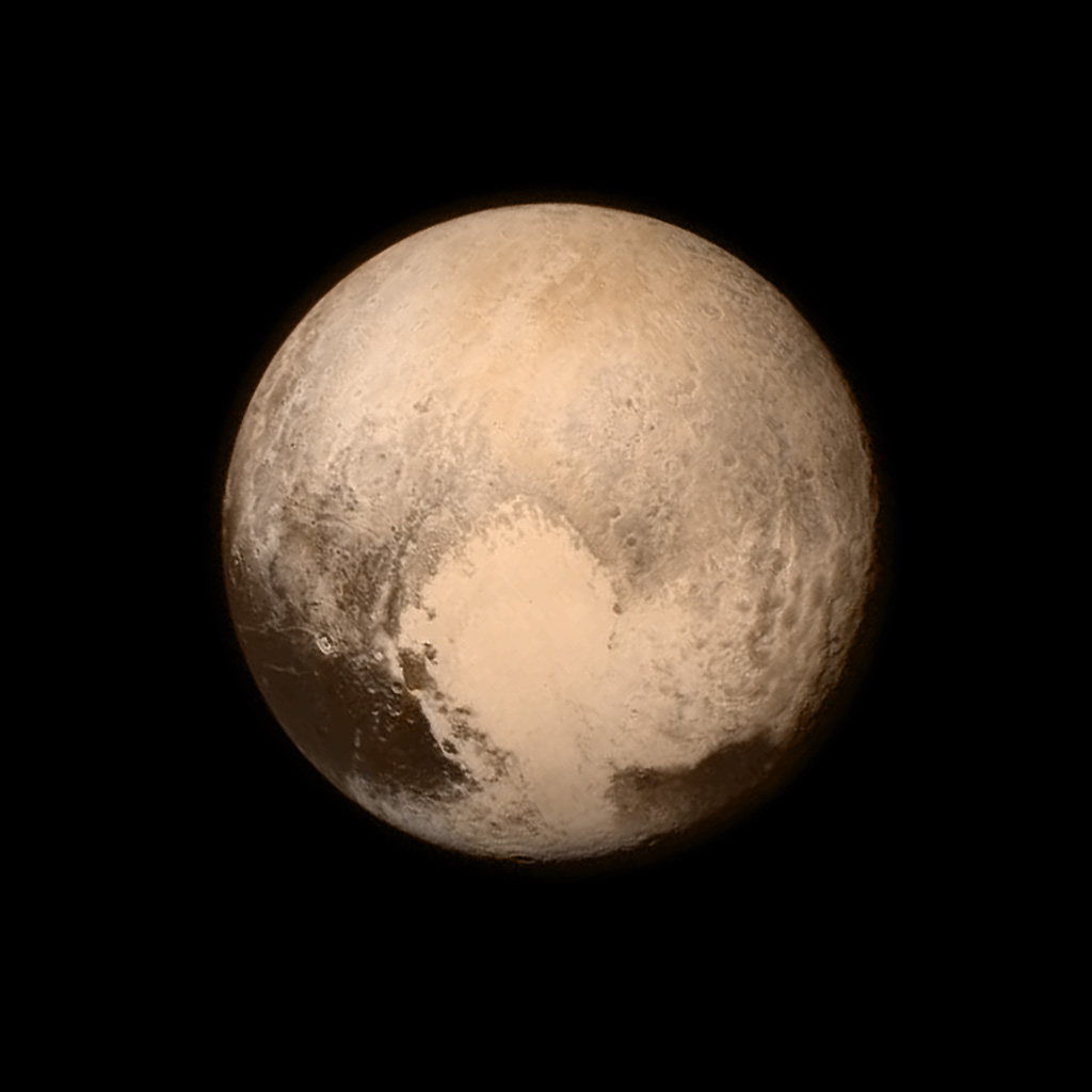 """Photo of Pluto, featuring it's """"heart"""""""